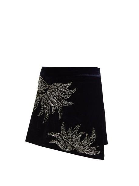 Dodo Bar Or - Paula Embellished Velvet Mini Skirt - Womens - Navy