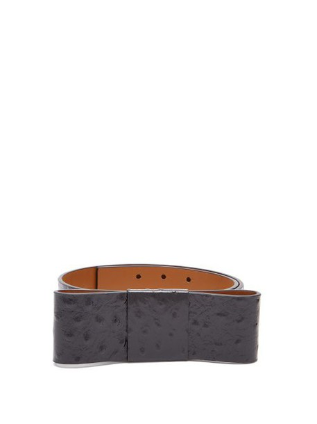 Marni - Bow Embellished Ostrich Effect Leather Belt - Womens - Black