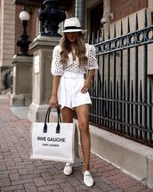 top,crop tops,puffed sleeves,white top,mules,ysl bag,white shorts,hat