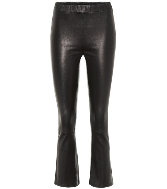 J Brand Mid-rise cropped leather pants in black
