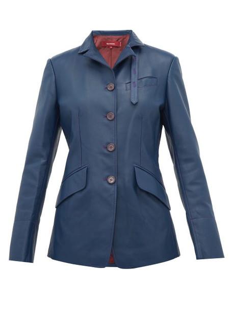 Sies Marjan - Bryce Single Breasted Leather Jacket - Womens - Navy