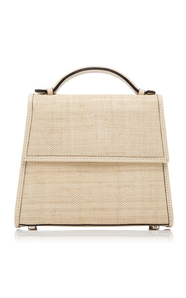 Hunting Season Leather-Trimmed Straw Tote