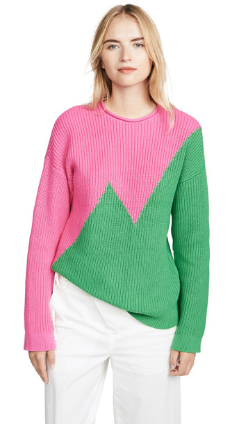 Victor Glemaud Long Sleeve Combo Sweater in green / pink