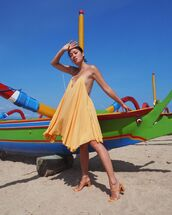 dress,yellow dress,mini dress,asymmetrical dress,sleeveless dress,jacquemus,sandal heels