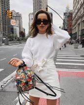sweater,white sweater,backpack,mini skirt,high waisted skirt,white skirt