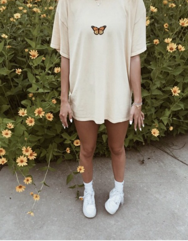 shirt butterfly vintage cream oversized baggy t shirt