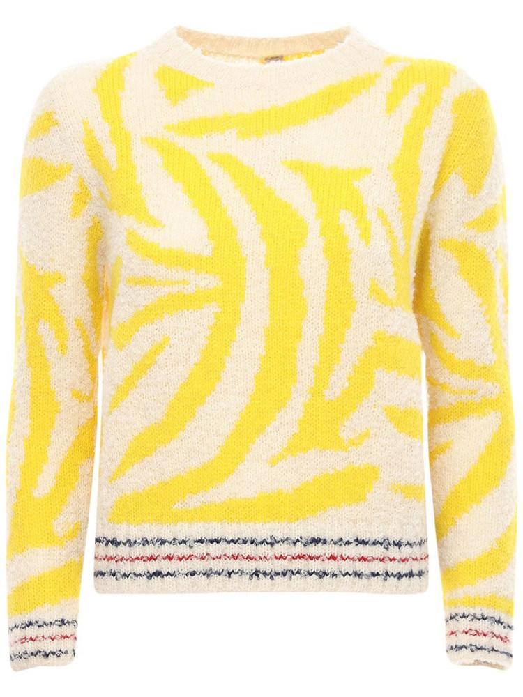GUDRUN & GUDRUN Althea Jacquard Alpaca Knit Sweater in white / yellow