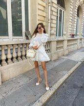 dress,white dress,mini dress,long sleeve dress,lace dress,shoes,white bag