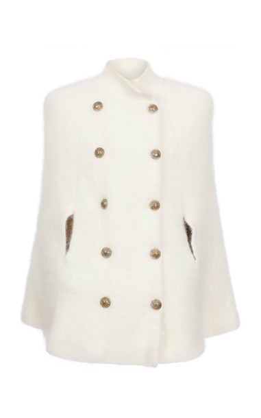 Balmain Cape-Effect Double-Breasted Angora Jacket in white