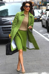 skirt,midi skirt,amal clooney,work outfits,coat,celebrity,fall outfits