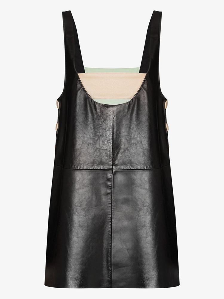 Skiim Taro contrast strap leather dress in black