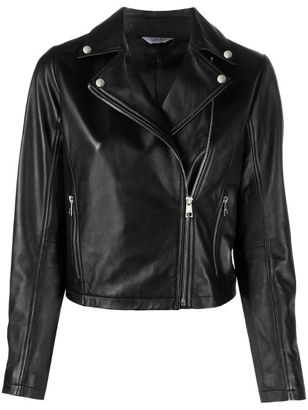 LIU JO leather biker jacket in black