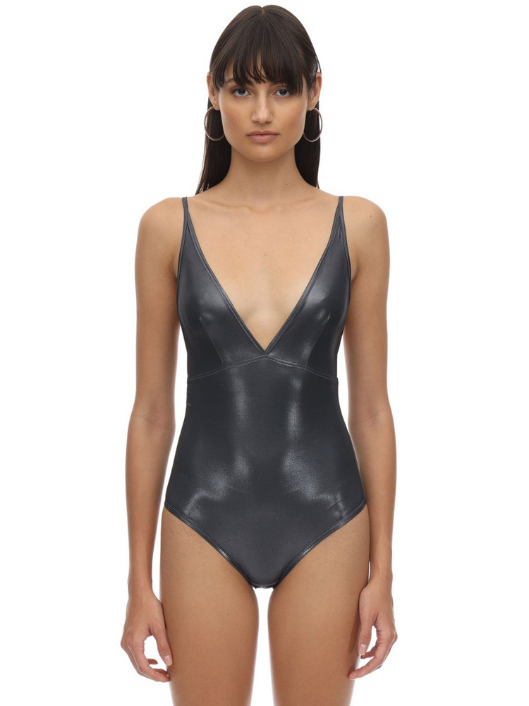 VELVET SOCK'S BY SIMONE WILD Metallic Techno Bodysuit in grey