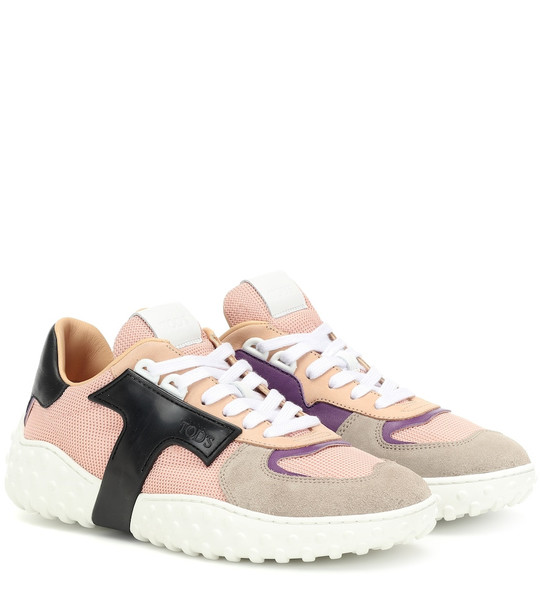 Tod's Mesh and leather sneakers in pink