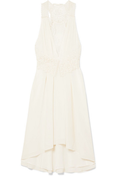 Victoria Beckham - Asymmetric Lace-trimmed Silk-chifffon Dress - White