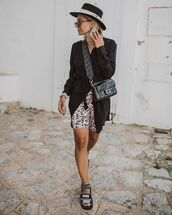 dress,shirt dress,black dress,sandals,leggings,fendi,bag,hat