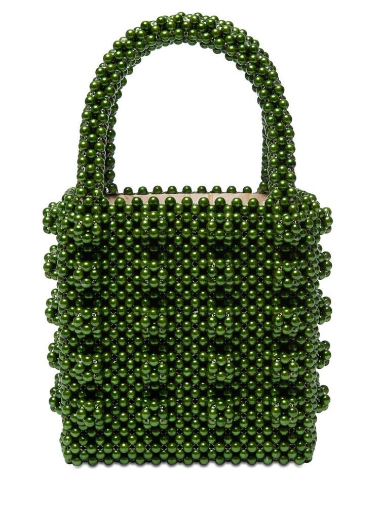 SHRIMPS Antonia Beaded Top Handle Bag in khaki