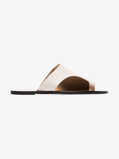 Atp Atelier white Rosa flat leather sandals