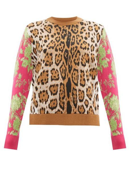 Msgm - Leopard Intarsia Sweater - Womens - Leopard