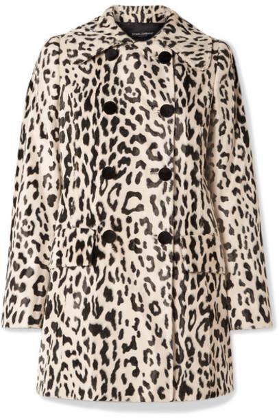 Dolce & Gabbana - Double-breasted Leopard-print Faux Fur Coat - Leopard print