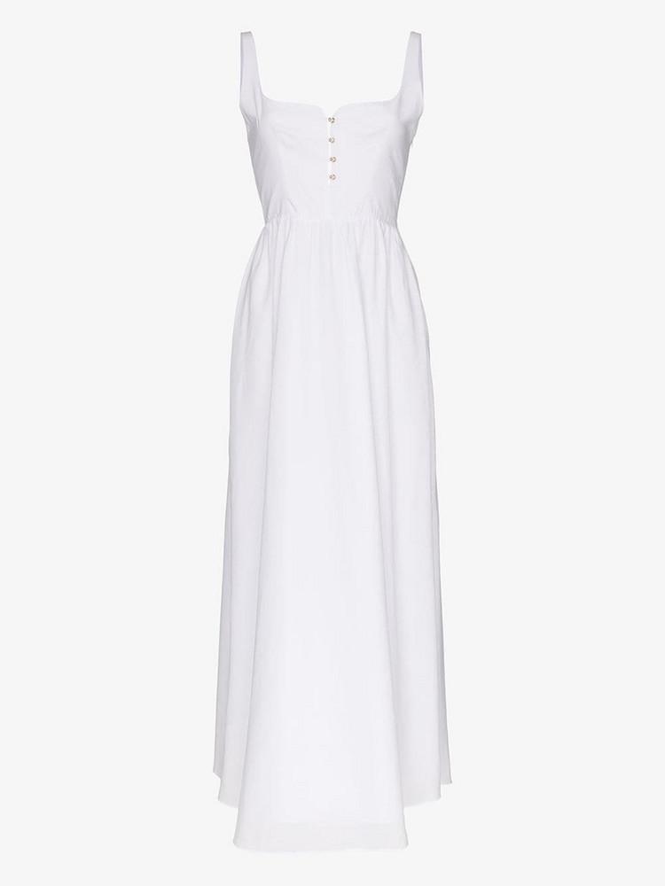 Esteban Cortazar button cotton midi dress in white