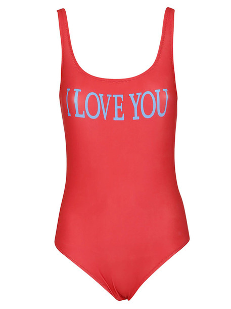 Alberta Ferretti I Love You Swimsuit in red