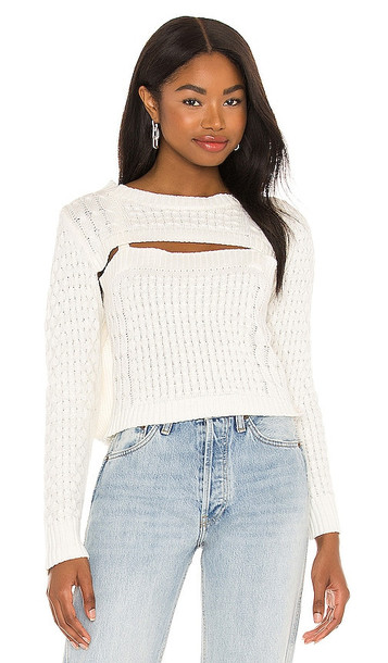Central Park West Aviva Cable Long Sleeve Sweater in Ivory