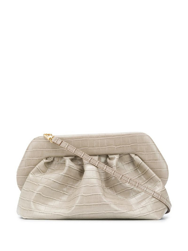 Themoirè croc-effect clutch bag in neutrals