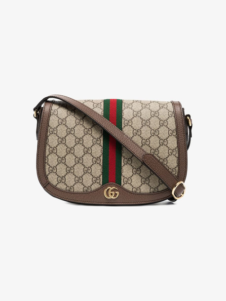 Gucci brown Ophidia leather saddle bag