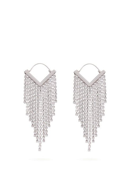 Isabel Marant - Crystal Embellished Fringed Earrings - Womens - Clear
