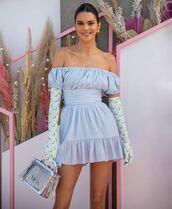 dress,mini dress,short dress,blue dress,off the shoulder dress,gloves,handbag