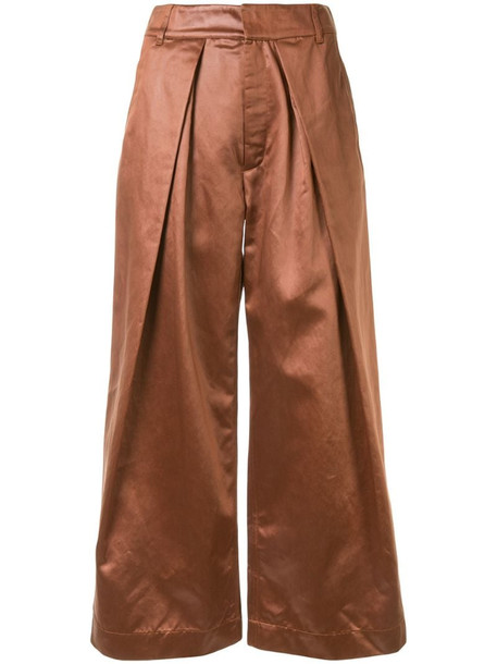 Christian Wijnants Pikeli satin trousers in brown