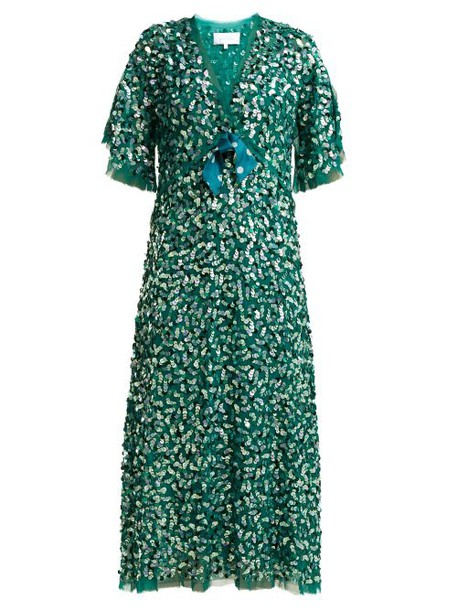 Luisa Beccaria - Bow Trimmed Sequinned Chiffon Dress - Womens - Green