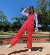 pink,jumpsuit,outfit,women,cute,outfit idea,school girl,spring outfits