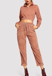 jumpsuit,girly,girl,girly wishlist,two-piece,corduroy,crop,cropped sweater,cropped,zip,joggers