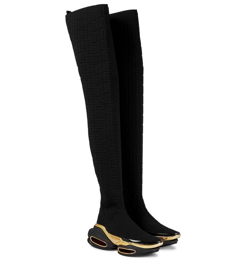 Balmain B Bold jacquard over-the-knee boots in black