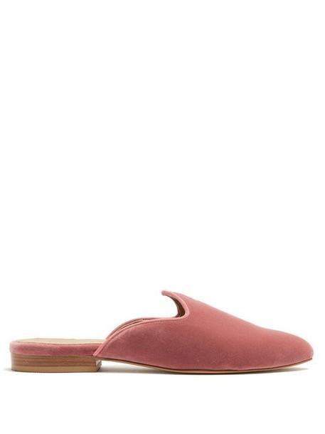 Le Monde Beryl - Venetian Backless Velvet Slipper Shoes - Womens - Light Pink