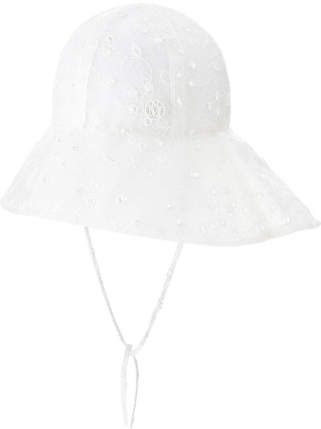 Maison Michel Julianne embroidered bucket hat in white