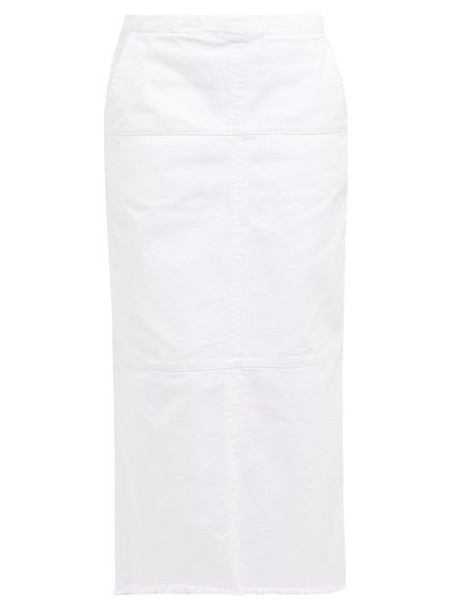 Raey - Panelled Denim Midi Skirt - Womens - White