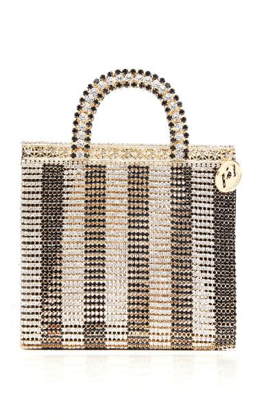 Rosantica Teodora Striped Crystal Top Handle Bag in gold