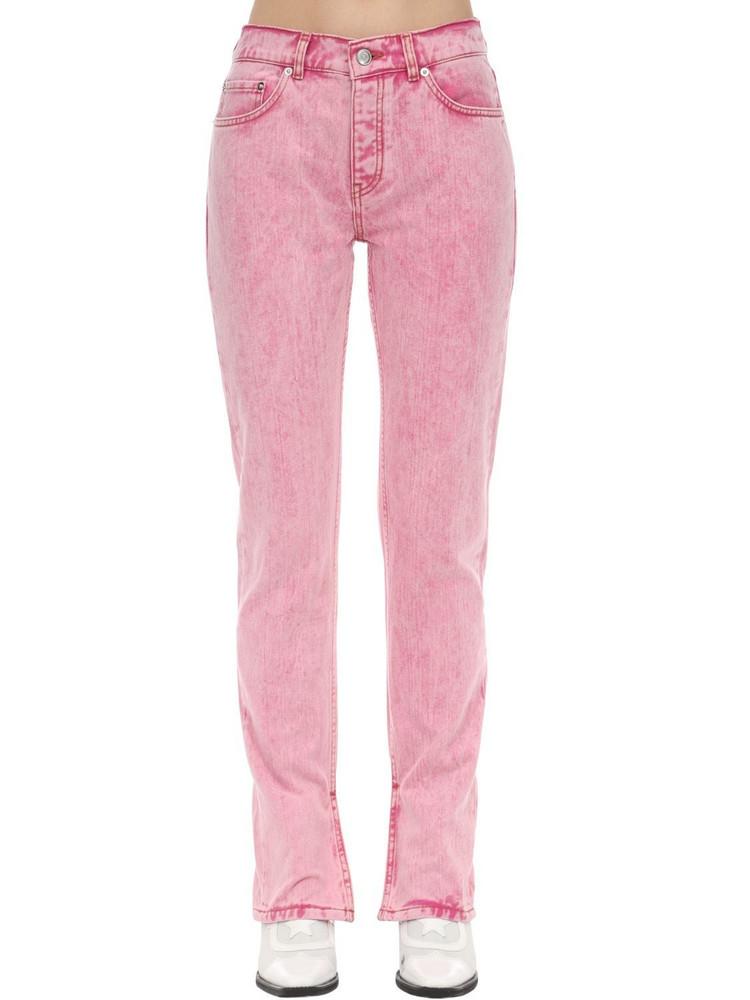 GANNI Straight Leg Cotton Denim Jeans in pink