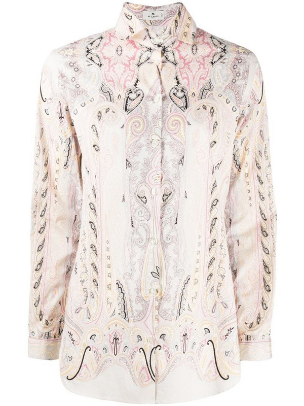 Etro Leafy paisley-print shirt in pink