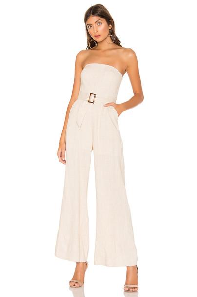 superdown Margo Belted Jumpsuit in beige