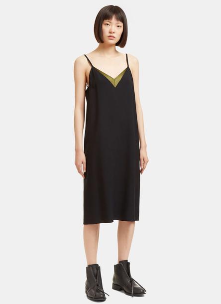 Lanvin Women's Satin V-Neck Slip Dress in Black size 40-FR