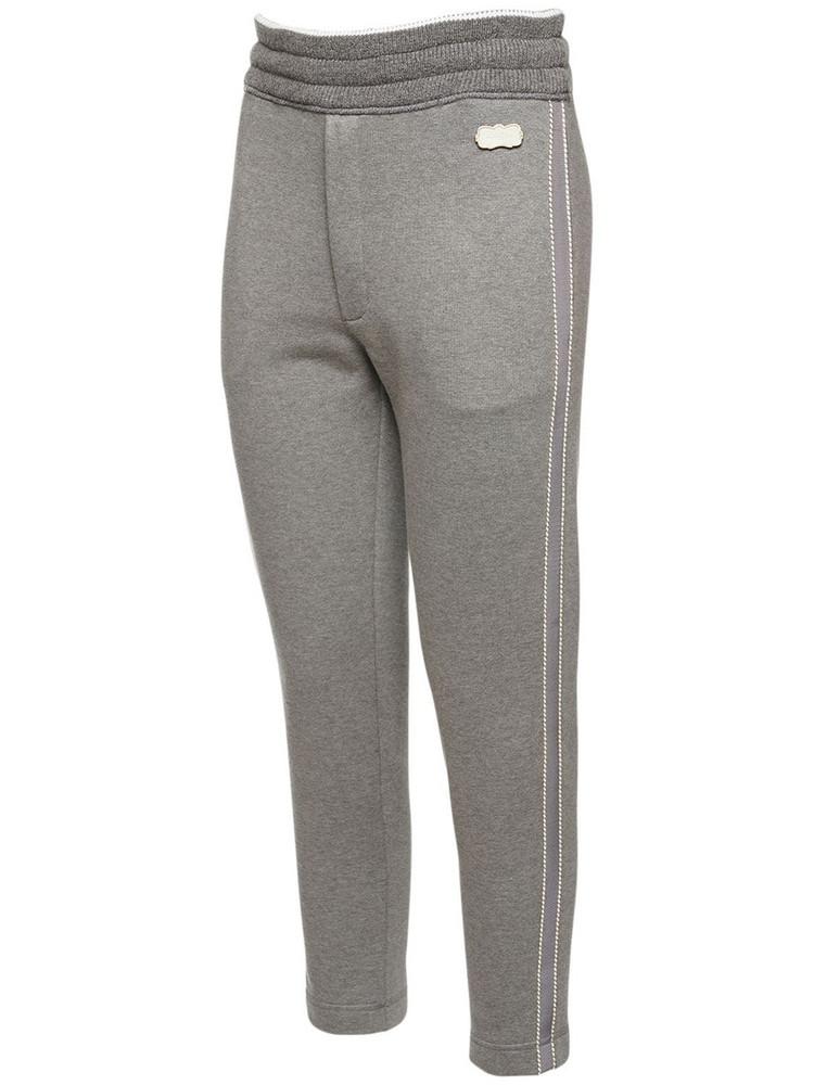 AGNONA Cotton Fleece Pants W/cashmere Details in grey