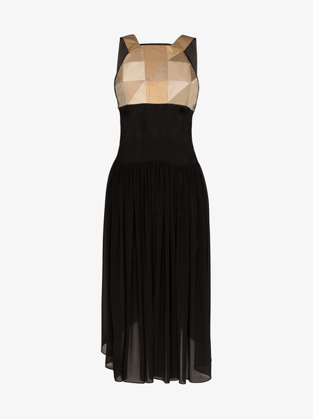 Duran Lantink quilted panel pleated midi dress in black