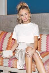 dress,celebrity,lauren bushnell,midi dress,spring outfits,silk