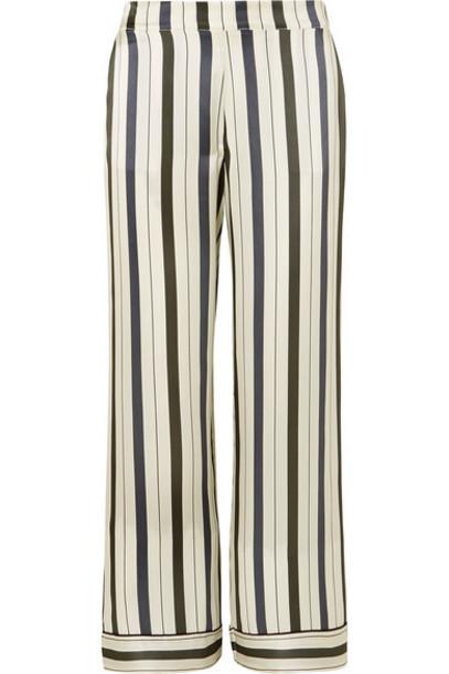 ASCENO - Striped Silk-satin Pajama Pants - Ecru
