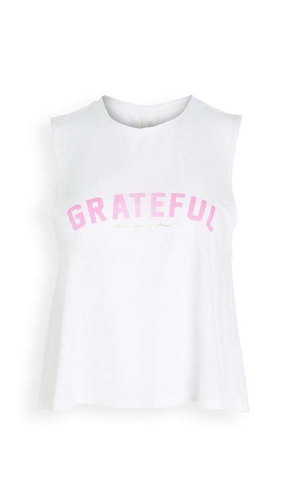 Spiritual Gangster Grateful Active Crop Tank in white