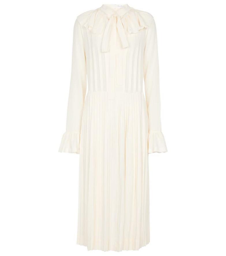 Victoria Beckham Collared pleated silk midi dress in white